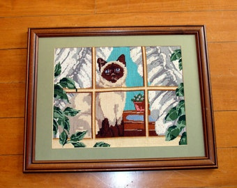 Vintage siamese cat needlepoint picture-completed art-framed finished needle point kitten