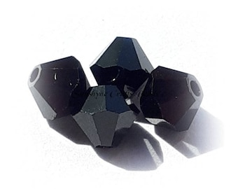 Swarovski Crystal Beads 5301/5328 JET BLACK Xilion Faceted Bicone Beads - Sizes 4mm, 6mm & 8mm available