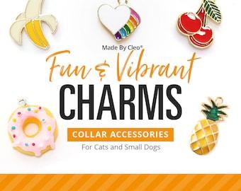 "Cat Collar Charm / Small Pet Charm / Small Collar Charm - ""Fun & Vibrant Charm Series"" - Pet Collar Accessory (Fruit, Donut, Geekery...)"