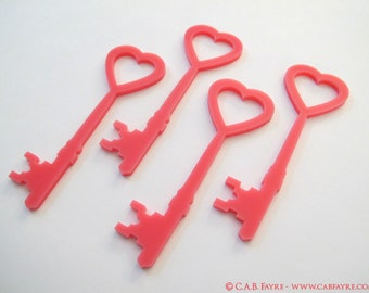 Heart Topped Skeleton Key Silhouettes - SET OF 10 - Laser Cut - for all your art and craft projects (You select the color)