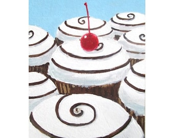 Original Painting * CUPCAKE SWIRL LANDSCAPE * aceo Mini Painting * Small Art Format by Rodriguez * Dessert Series