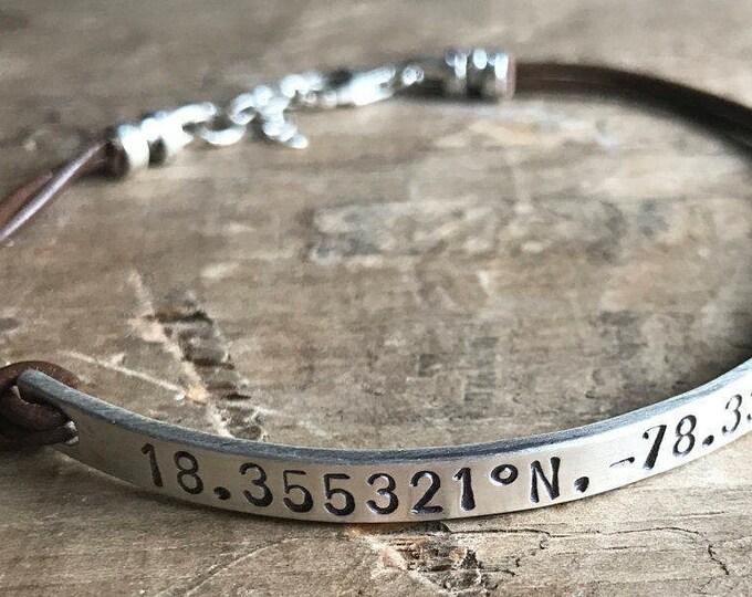 Personalized Girlfriend Bracelet Women's Leather Sterling Silver Custom Bracelet Gift