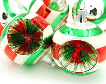 Vintage Glass Christmas Ornaments, Red White Green Silver Indent Ornaments, Striped Christmas Ornaments