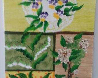 Acrylic paneled painting on canvas