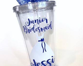 Will You Be My Junior Bridesmaid   Junior Bridesmaid Personalized Tumbler   Bridesmaid Gift   16 oz Tumbler
