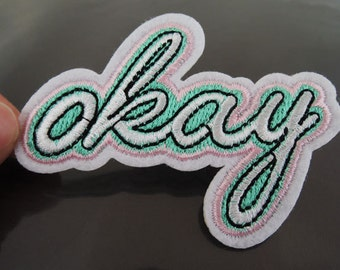 OKAY Letter Patches - Iron on or Sewing on Patch Letter Patches OKAY Patch Embellishments Embroidery fonts