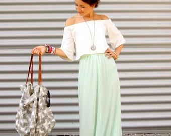 Mint Green Pleated skirt, Chiffon maxi skirt, Vintage Skirt, Boho skirt, Bohemian skirt, Bridesmaid dress, Bridesmaid skirt