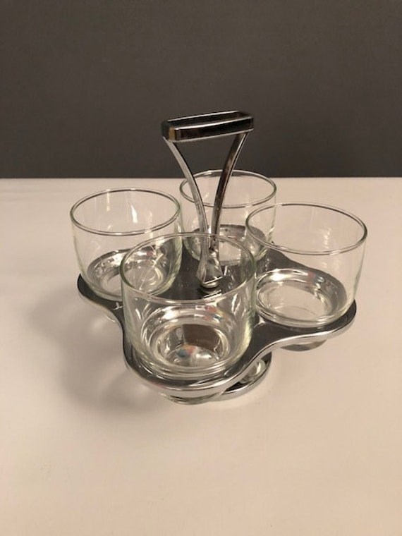 Mid-Century set of 4 glasses with Lazy Suzzan holder. chrome and glass
