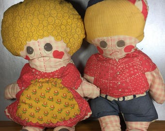 Vintage Rag Dolls- Boy and Girl
