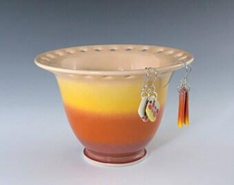 Ceramic Earring Holder, Orange Yellow Earring Bowl, Jewelry Dish, Earring Storage, Jewelry Holder, Earring Stand, Pottery Earring Bowl