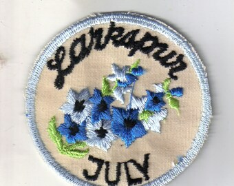 Larkspur July Flower of the Month Rare Vintage Sewing Patch Applique Collectible