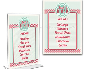 Retro Diner Menu Card, I will customize for you, Print Your Own