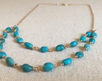 Turquoise gemstone gold necklace