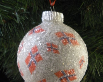 Norwegian Flags glass glitter ornament