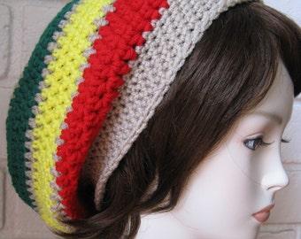 Red Green Yellow Jamaican /Beige Hippie Rasta Tam Slouchy Hat crochet