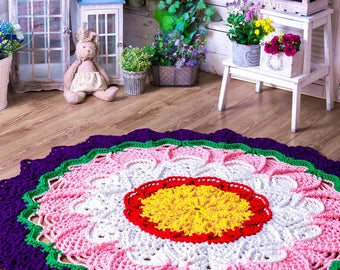 "Big crochet colored multicolor variegated rug  (59 in), doily rug, cottage carpet, motley rug, rustic floor decor by LaceMats ""LaceGlade"""