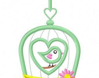 Bird Cage Machine Applique Design INSTANT DOWNLOAD