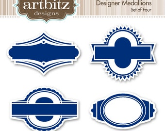 Designer Medallions No. 01001 Clip Art Kit, 300 dpi .jpg and .png