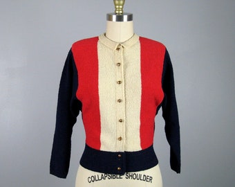 Vintage 1950s Color Block Boucle Knit Sweater 50s Red White and Blue 'KIMS' Cardigan by Kimberly Knitwear Size M