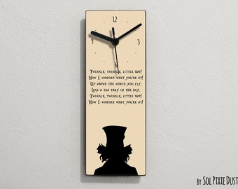 Alice in Wonderland - Mad Hatter - Twinkle, twinkle, little bat! How I wonder what you're at! Up above the world you fly.....  - Wall Clock