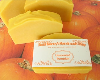 Unscented Pumpkin Soap - Handmade Bar Soap with Real Pumpkin Puree - Vegan Homemade Cold Process Soap - No Fragrance or Essential Oils Added