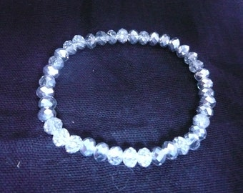 Silver-Grey Crystal Bracelet on elastic