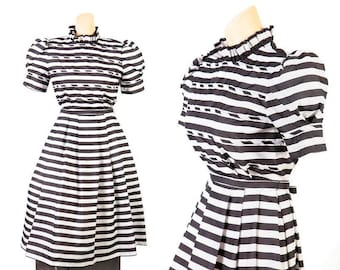 1980s Black and White Striped Dress, Victor Costa
