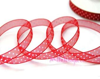 1 m of Red organza Ribbon embellishment scrapbooking dots *.