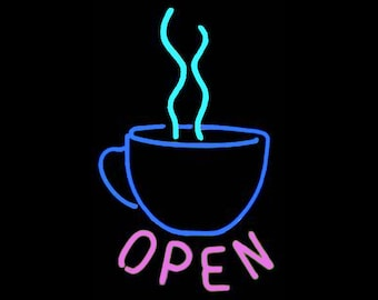 Coffee 'OPEN' Real Neon Sign for Window or Wall. Great for Home or Business Java Neon Light Neon Art