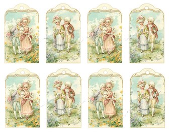 Gift Tags Old Fashioned Children Boy Girl Post Card Vintage Instant Digital Download Printable Altered Art 18th century Costume