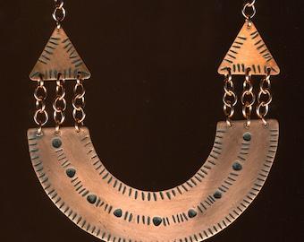 Copper U-Shape geometric copper chain pendant necklace