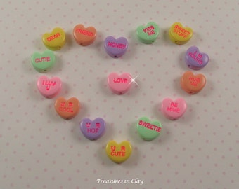 Conversation Hearts - Polymer Clay Beads