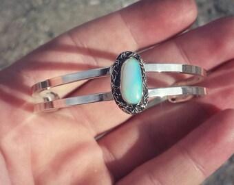 Australian opal cuff bracelet sterling silver