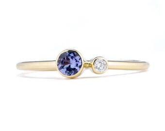 Tanzanite Ring, 14K Gold Tanzanite and Canadian Diamond Ring, Birthstone Ring, Gift for Her, December Birthstone