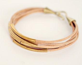 leather bracelet  Thin leather bracelet  Multi strand Leather Bracelet for women  Natural Leather  Curved Tube Bracelet  Gold bar bracelet