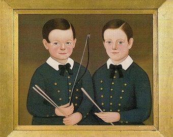 Folk Art Portraits - Boys with Bow and Drumsticks charming early 19th century children - gift for nursery - framable digital portrait