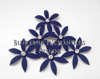 Bridal Hair Accessories, Nautical Beach Wedding Hair Piece, Something Blue Hair Flowers - 6 Navy Blue Harlow Spider Orchid Flower Hair Pins