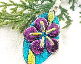 Sakura blossom jewelry, dichroic glass pendant, dichroic, flower pendant,Cherry blossom, fused glass pendant , fused glass art, glass fusion