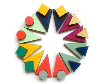 Geometric Triangle Earrings - Statement Studs - Triangle Studs - Wooden Earrings - Laser Cut Jewellery - Colourful Earrings - Triangle Studs