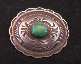 Dark Green Turquoise Sterling Silver Native Southwest Brooch Signed LEB (E 702)