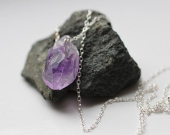 stone necklace, raw crystal necklace, sterling silver, natural purple stone, semi precious stone, simple necklace, delicate necklace, N149