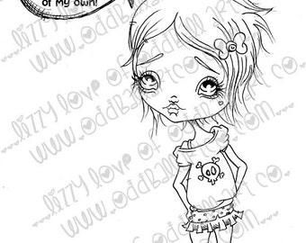 INSTANT DOWNLOAD Digi Stamp Digital Big Eye Girl w/ Attitude ~ Don't Mess With Beany Image No.161 & 161B by Lizzy Love