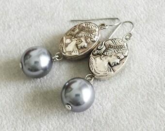 Vintage Kamee Grau Perlen Ohrringe, Jahrestagsgeschenk für sie, Geschenk für Frau, Braut Hochzeitsschmuck, Muttertag, Geschenk für Mama