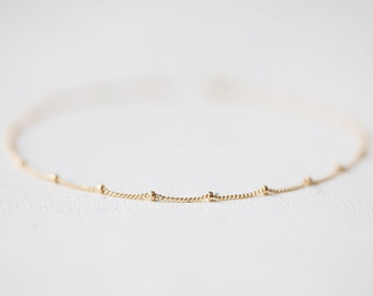 Delicate Gold Bracelet - simple and delicate beaded14k gold filled satellite chain, simple everyday jewelry