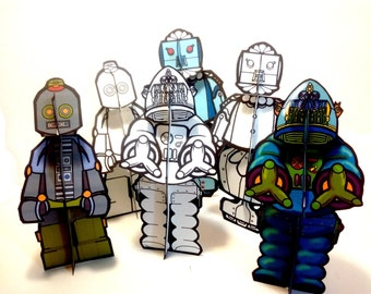 Robot Rosie Robby Robin Paper Doll Set - Printable Toy