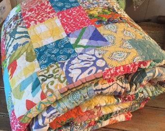 Made to order queen sized brightly coloured farmhouse quilt -- olivia walton -- beautiful vintage styled farmhouse