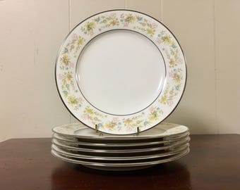 Noritake Blossom Time Salad Plates - Set of 6 / Colorful Floral Ivory Dinnerware