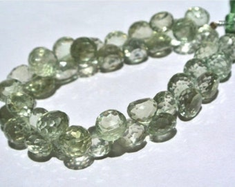 1/2 Strand Natural Brazilian Green Amethyst Micro Faceted Onion Briolettes Size 7.5 - 8.5mm, prasiolite beads