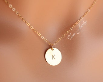 14K Gold filled initial disk necklace - 12mm , personalized Necklace, Style & Number of disk to choose, gift for mom, mother, sister, wife..