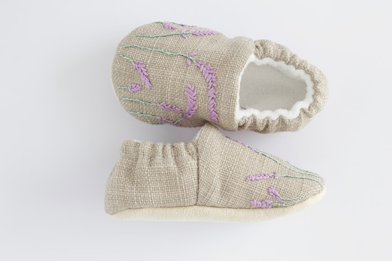 Grey linen shoes with hand embroidered lavender, pre walkers and toddlers